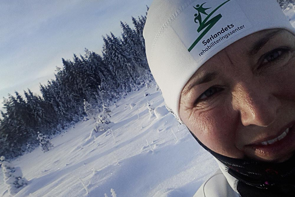 Andpusten etter en knallhard treningsøkt - Astrid Furholt til Sydpolen / Sørlandets rehabiliteringssenter