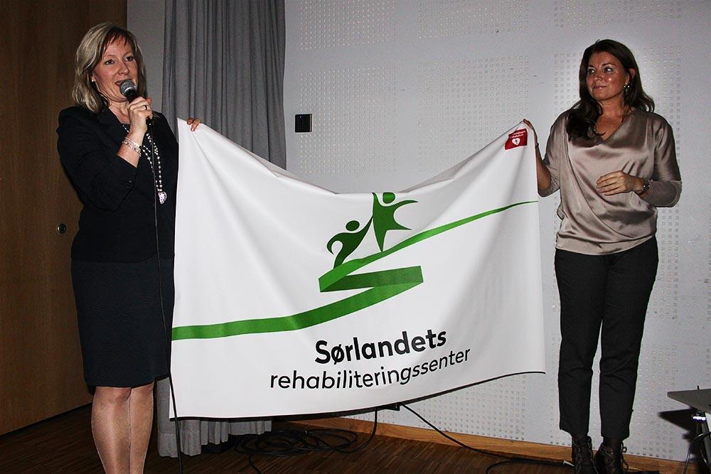 Pasientflagget som skal være med Astrid Furholt til Sydpolen / Sørlandets rehabiliteringssenter